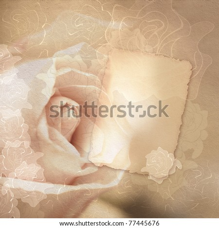 vintage card with roses in brown colors - stock photo