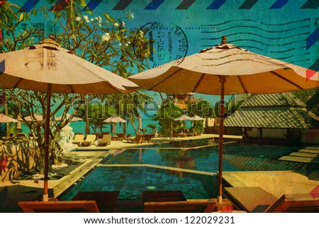 Vintage card with tropical resort - stock photo