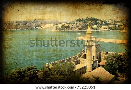 Vintage card with turkish architecture on grungy paper, Bodrum castle - stock photo