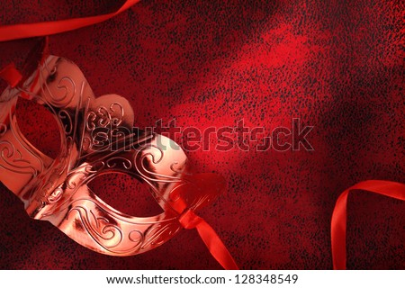 Vintage carnival mask in red - stock photo