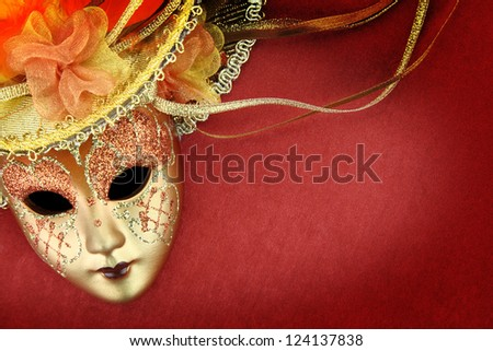 Vintage carnival mask on red background