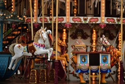 Vintage Carousel Horse and Lion