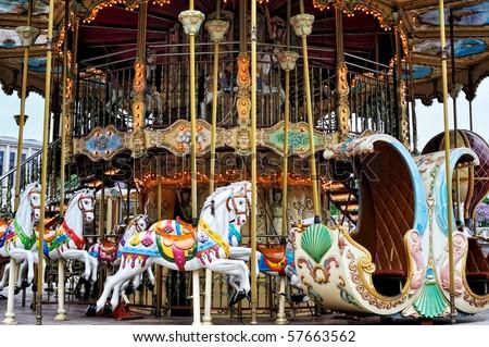 Vintage carousel. Photo taken in Paris, France. - stock photo