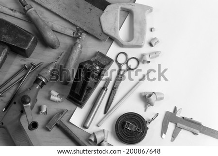 Vintage carpentry workplace. 'Still life' with old carpentry's tools. Black'n'white horizontal composition #200867648