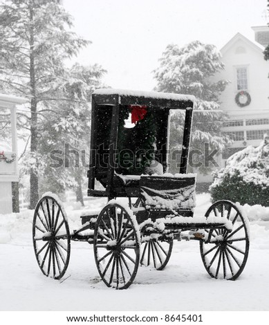 vintage carriage in snow