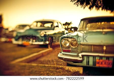 Vintage cars in Cuba shot with tilt shift lens