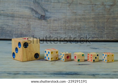 Vintage Casino dices on a wooden table