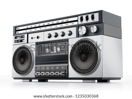 Vintage cassette player isolated on white background. 3D illustration.