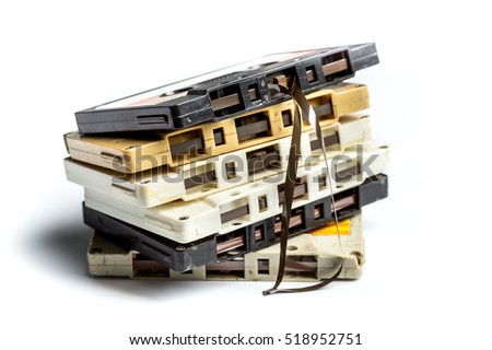 vintage cassette tape isolated white background