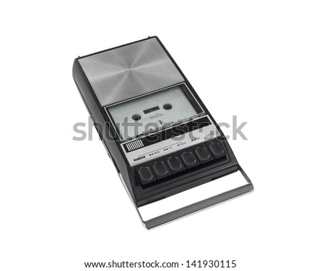 Vintage cassette tape recorder isolated with clipping path.