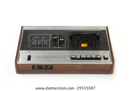 Vintage Cassette Tape Recording Device Isolated on White Background