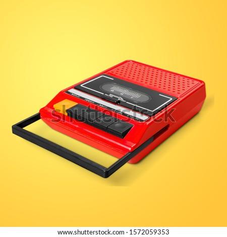 Photo of  Vintage cassette Walkman on pastel background