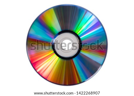 Vintage CD or DVD disk on white background, clipping path. Old circle discs used for data storage, share movies and music
