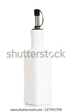 Vintage ceramic olive bottle, isolated on white