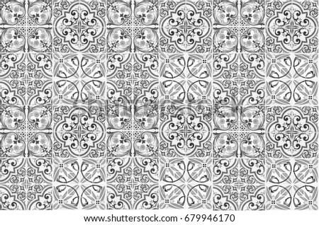 Vintage ceramic tiles wall decoration.Turkish ceramic tiles wall background #679946170