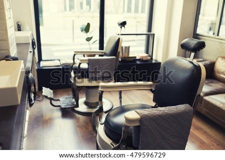 vintage chair in barbershop