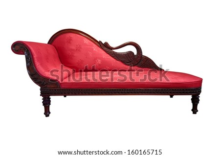 Vintage chaise longue isolated on white Foto stock ©