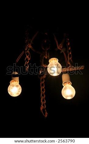 Vintage chandelier in the dark