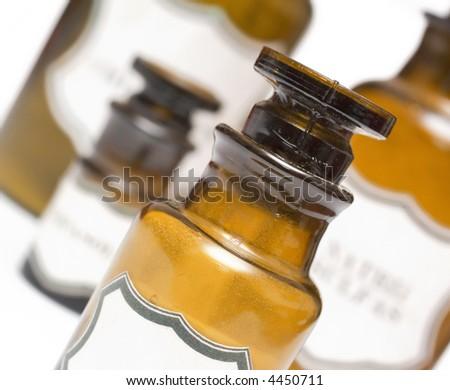 vintage chemical bottles, pharmaceutical laboratory