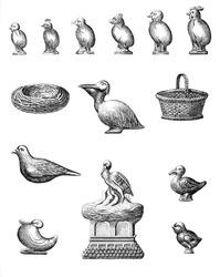 Vintage Chocolate Mold Sketches - Birds