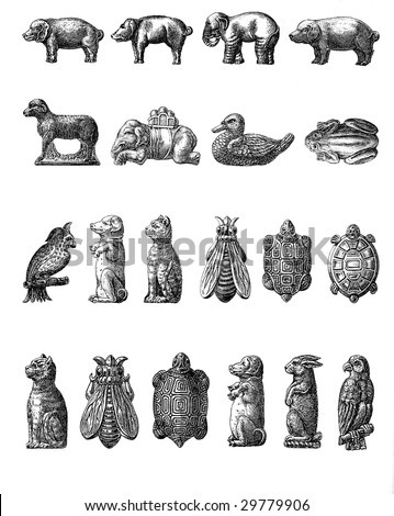 Vintage Chocolate Mold Sketches - domestic and wild animals - Shutterstock ID 29779906