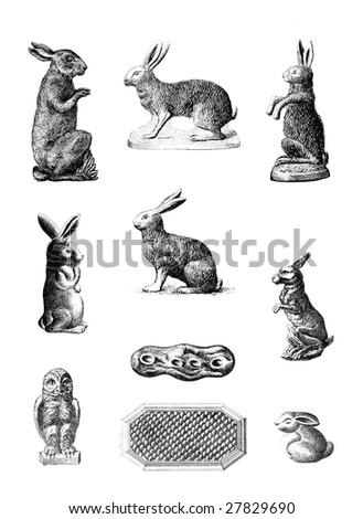 Vintage Chocolate Mold Sketches - Rabbits
