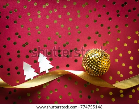 Vintage Christmas and New Year celebration concept. Luxury and glamours creative design with copy space for text.