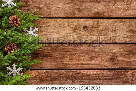 Christmas Ornaments And Rustic Old Barn Wood With Christmas