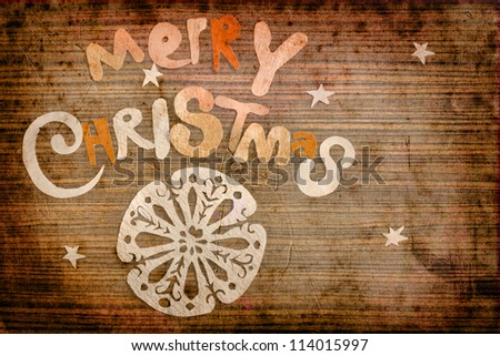 Vintage christmas background/Vintage Christmas Card. Merry Christmas lettering