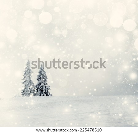 Vintage Christmas background with snowy fir trees  - Shutterstock ID 225478510