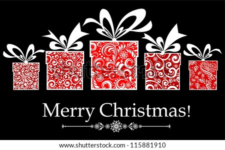 Vintage Christmas card. Celebration background with gift boxes and place for your text.  illustration - stock photo