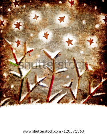 vintage christmas card whit colorful pencils as tree branches/xmas concept/original christmas background with pencils