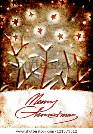 vintage christmas card whit colorful pencils as tree branches/xmas concept/original christmas background with pencils - stock photo