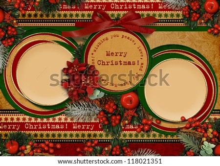 Vintage Christmas card with circle frame