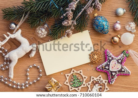 Vintage Christmas Decoration On Wooden Table Party Background Greeting Postcard 710060104
