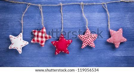 Vintage christmas decoration over wooden background