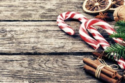 Vintage Christmas decorations with candy canes