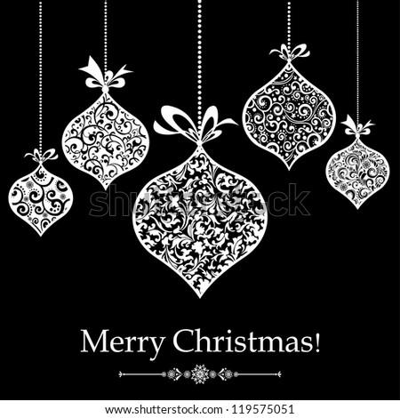 Vintage Christmas Greeting Card.  Illustration - stock photo