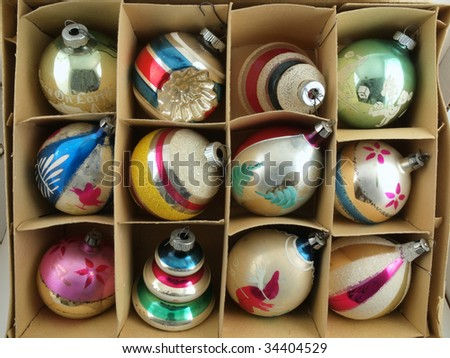 Vintage Christmas Ornaments in their original box.