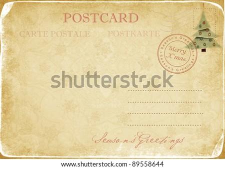 Vintage Christmas  postcard - stock photo