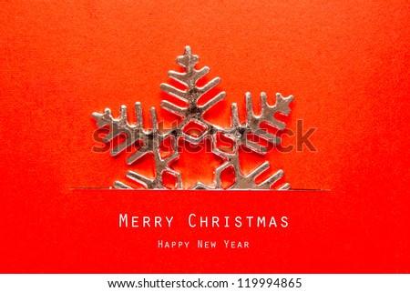 Vintage Christmas postcard with  snowflakes