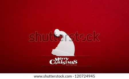Vintage Christmas postcard with true paper cut of  santa hat