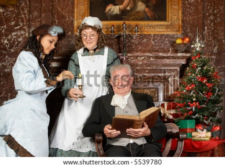 Vintage Christmas Scene Of A Victorian Family. Shot In The Antique ...