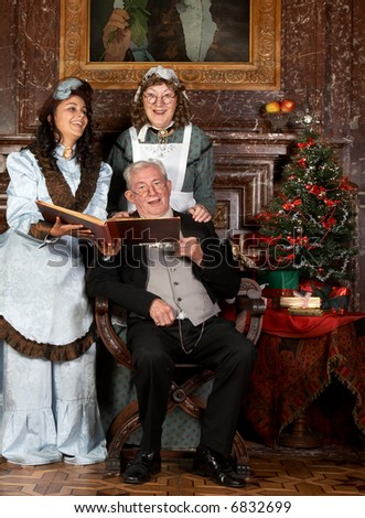 Vintage Christmas Scene Of A Victorian Family Singing Christmas ...