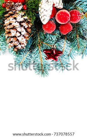 Vintage Christmas Tree Pine Branches and Christmas decorations isolated on white background with copy space. Merry christmas. #737078557