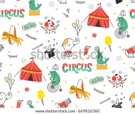 Vintage circus doodle seamless background with circus tent, animals and clown