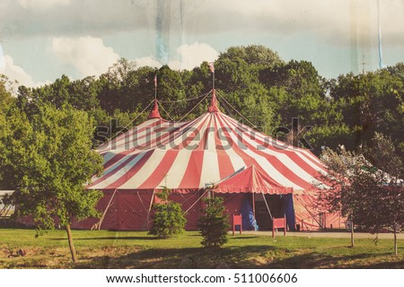 Vintage circus tent, old paper postcard effect
