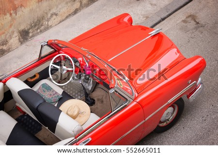 Vintage classic american car, view from above in Havana, Cuba #552665011
