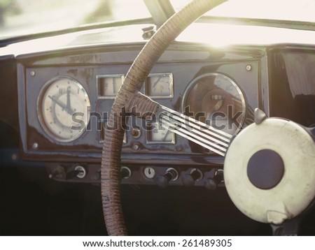 vintage classic car interior