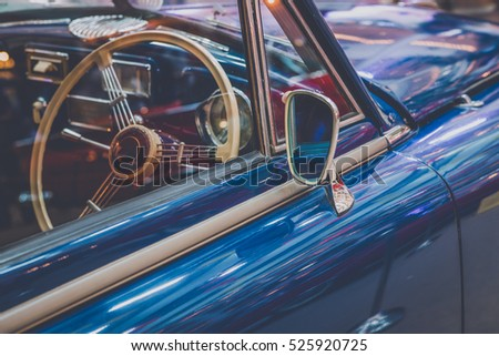 vintage classic car with mirror ...